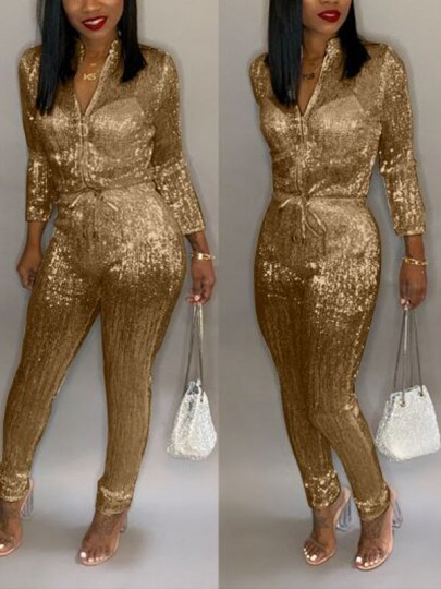 Golden Bright Wire Zipper Drawstring Bodycon Sparkly Glitter Birthday Christmas New Year's Eve Long Jumpsuit
