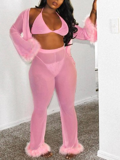 Pink Patchwork Fur Four-piece Set Sheer High Waisted Chiffon Clubwear Party Long Jumpsuit