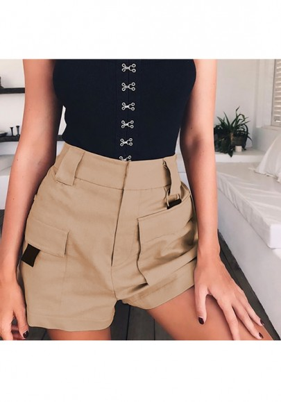 Khaki Pockets High Waisted Boyfriend Casual Going out Shorts