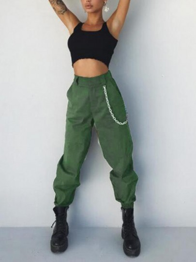 Army Green Pockets High Waisted Chain Casual Cargo Harem Long Pants