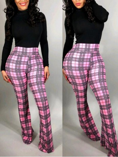 Pink-Black Plaid Pattern High Waisted Bell Bottom Flare Vintage Casual Long Pants