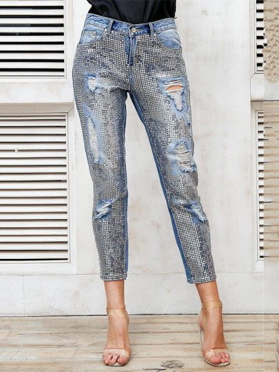 Light Blue Patchwork Sequin Glitter Ripped High Waisted Fashion Mom Jeans Pant