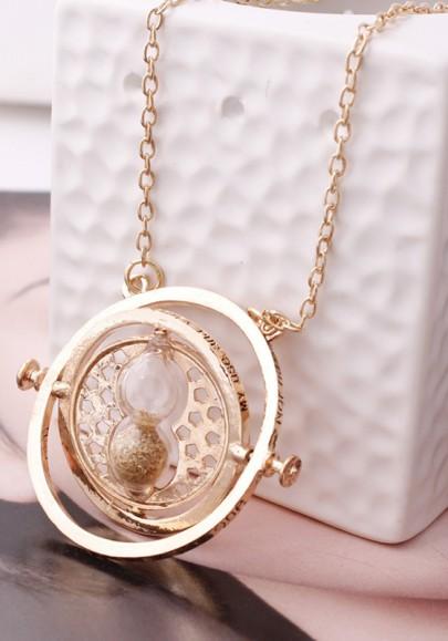 Colgante collar aleación de reloj de arena tiempo-turner de oro
