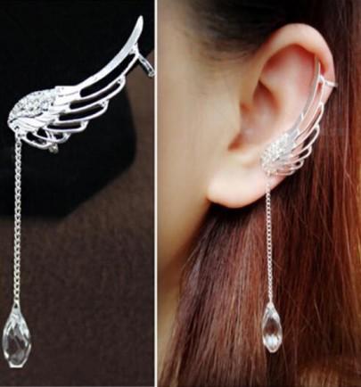 Boucles d'oreilles aile alliage balancent 2-en-1 de l'argent