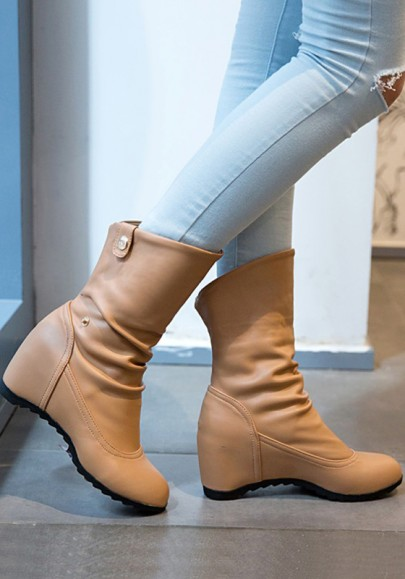 Apricot Round Toe Slip-On Casual PU Leather Boots