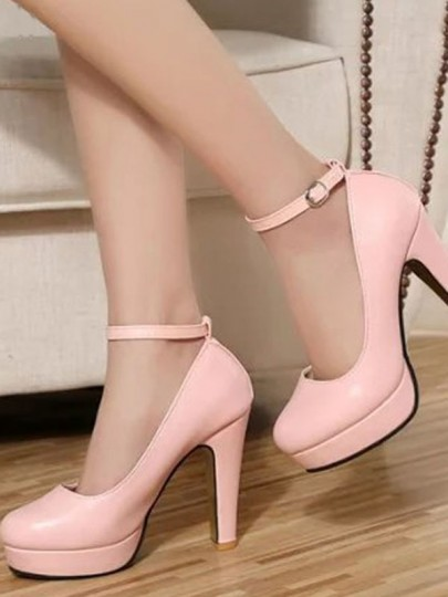 Pink Round Toe Chunky Fashion Buckle High-Heeled Shoes