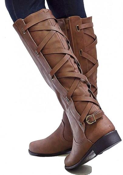 Stivali punta rotonda fibbia moda A metà polpaccio marrone