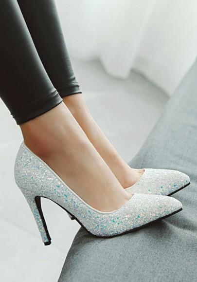 Weiß Punkt Zehe Stilett Pailletten Mode Glitzer High-Heels Schuhe Damen