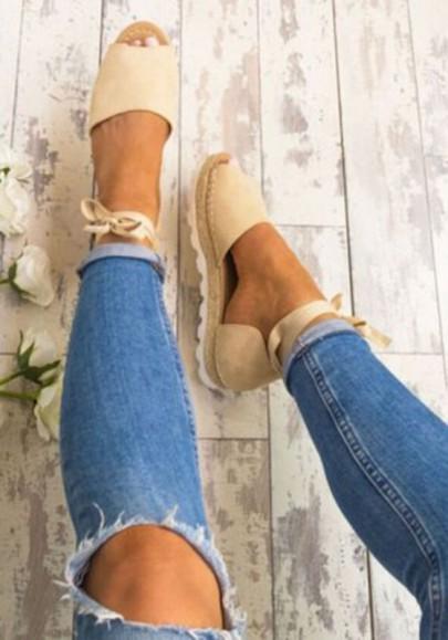 Chaussures bout rond coupe plate décontracté semelle lourde beige