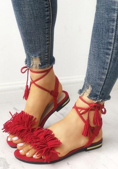 Sandales bout rond plat frange avec à lacets cheville mode femme rouge