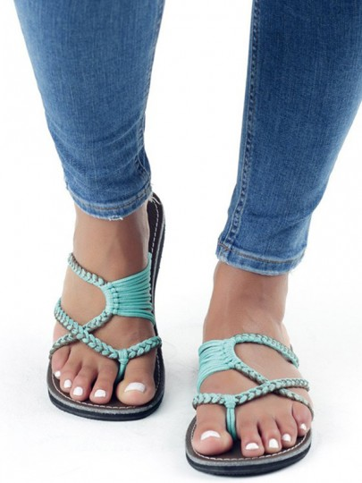 Light Green Round Toe Flat Cut Out Fashion Ankle Sandals