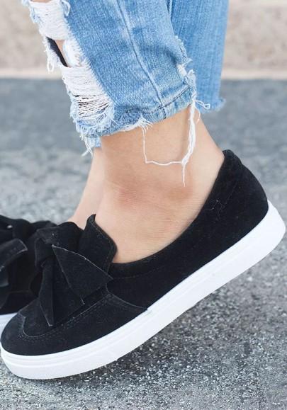 Chaussures bout rond plat noeud papillon mignon décontracté femme sneakers noir