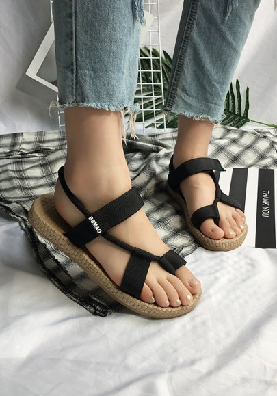 Black Round Toe Flat Fashion Ankle Sandals
