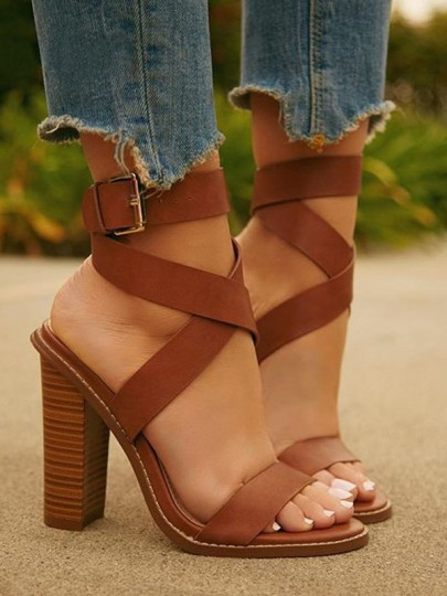 Brown Round Toe Chunky Cross Strap Fashion High-Heeled Sandals