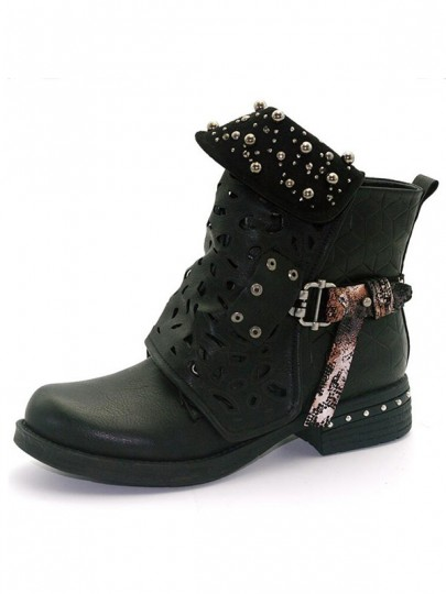 Black Round Toe Chunky Rivet Cut Out Fashion Boots