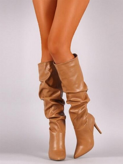 Brown Round Toe Fashion Knee-High Boots