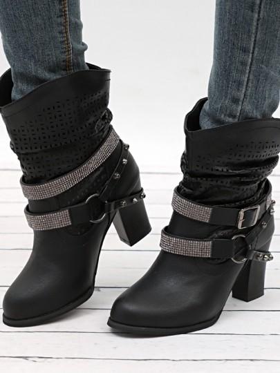 Schwarz Runde Zehe Blockabsatz Strass Nieten Cut Out Herbst Winter Stiefeletten Damen Hohen Absatz Stiefel Schuhe Boots