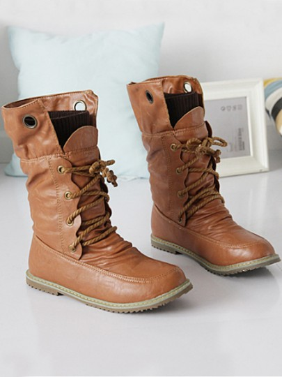 Yellow Round Toe Lace-up Fashion Mid-Calf Boots