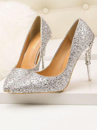 Silver Punkt Zehe Pailletten Glitzer Stiletto Pumps Elegante High Heels Schuhe Damen Mode