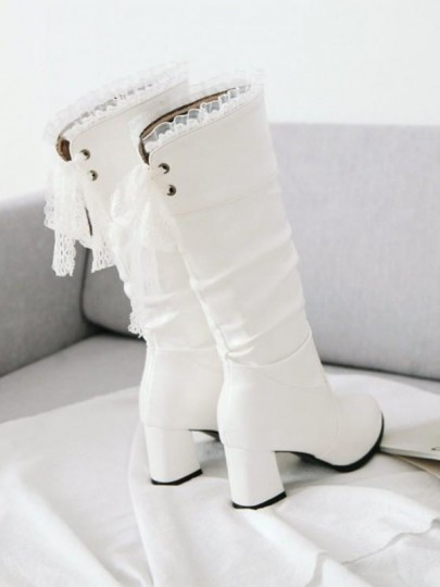 White Round Toe Lace Chunky Fashion Boots