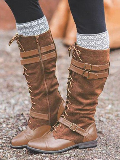 Brown Round Toe Lace-up Fashion Mid-Calf Boots