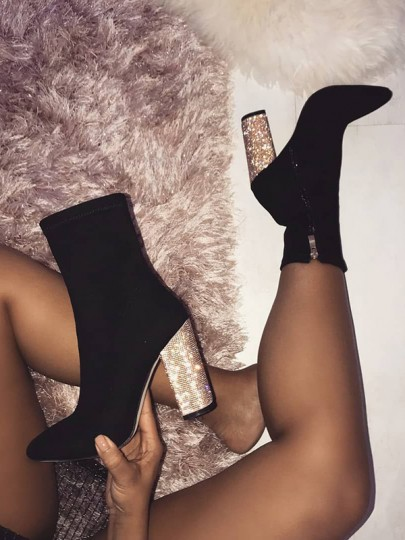 Black Round Toe Chunky Sequin Suede Fashion Prom Ankle Boots