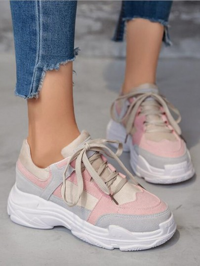 Pink Round Toe Print Fashion Ankle Shoes
