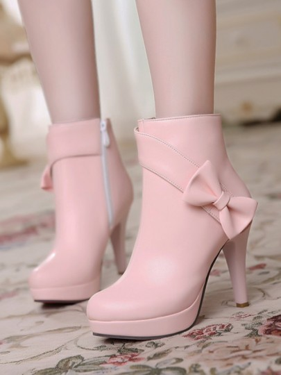 Pink Round Toe Chunky Bow Fashion Ankle Boots