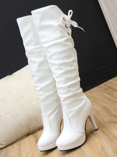 White Round Toe Stiletto PU Leather Lace-up Fashion Over-The-Knee Boots