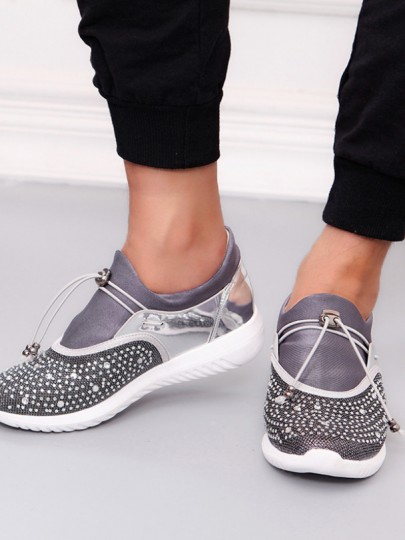 Chaussures bout rond mode strass cheville gris