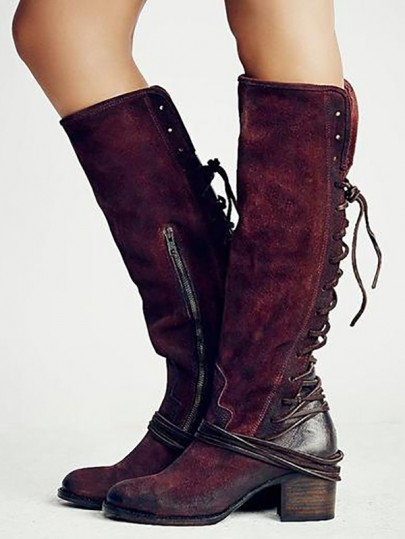 Burgundy Round Toe Chunky Suede Lace-up Fashion Knee-High Boots