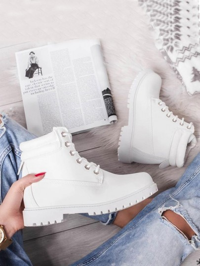White Round Toe Chunky Cross Strap Fashion Ankle Boots