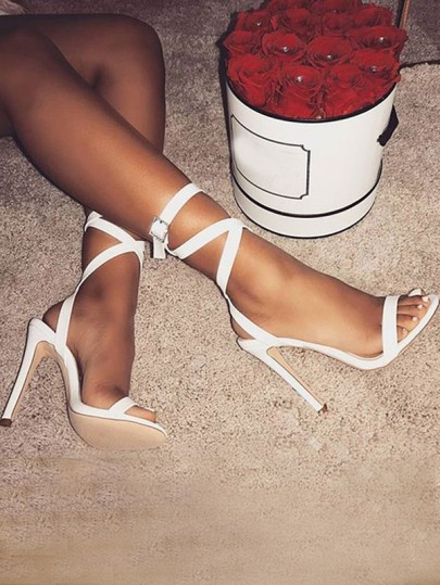 White Cross Strap Round Toe Stiletto Cross Strap Fashion Elegant Party High-Heeled Sandals