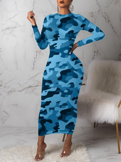 Light Blue Camouflage Bodycon Round Neck Long Sleeve Party Maxi Dress