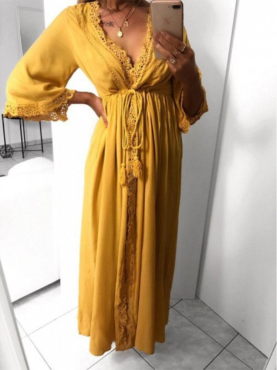 Robe maxi longue avec dentelle coulisse taille fluide v-cou manches 3/4 boho moutarde