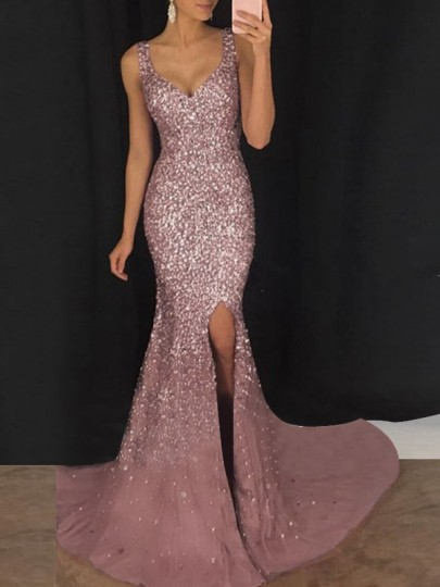 Pink Sequin Glitter Sparkly Slit Mermaid Deep V Neck Sleeveless Banquet Elegant Maxi Dress by Cichic