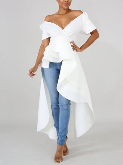 White Cascading Ruffle Off Shoulder High-Low Elegant Party Maxi Dress