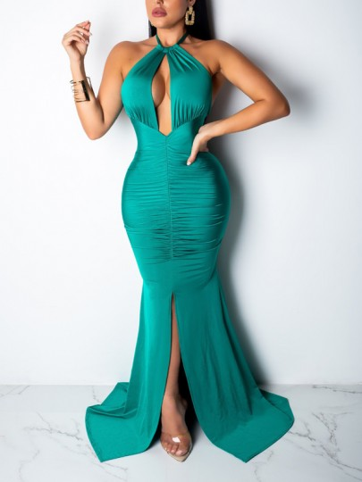 Green Halter Neck Cut Out Backless Bodycon Mermaid Front Slit Prom Evening Party Maxi Dress