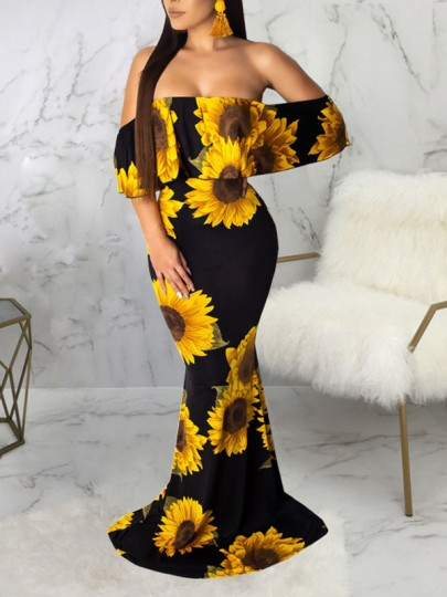 Yellow Sunflower Off Shoulder Ruffle Bodycon Mermaid Prom Evening Part Maxi Dress
