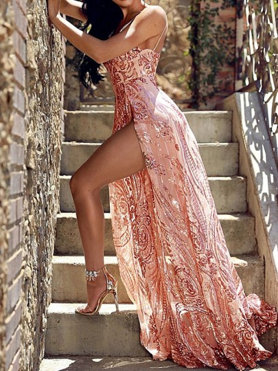 Red Patchwork Sequin Sheer Backless Thigh High Side Slits Spaghetti Strap Glitter Maxi Dress