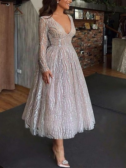 Silver Patchwork Sequin Fashion One Piece Cocktail Party Maxi Dress