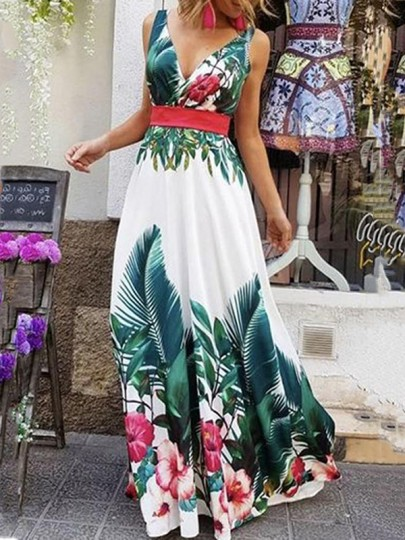 White Floral Palm Leaves Print Pleated Deep V-neck Flowy Bohemian Beachwear Maxi Dress