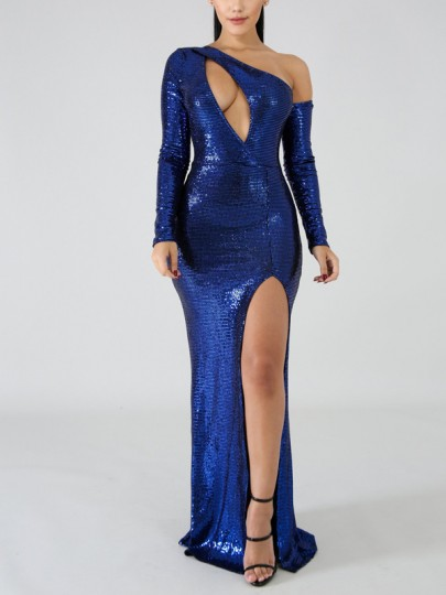 Blue Patchwork Sequin Asymmetric Shoulder Cut Out Bodycon Mermaid Side Slits Sparkly Glitter Birthday Party Maxi Dress