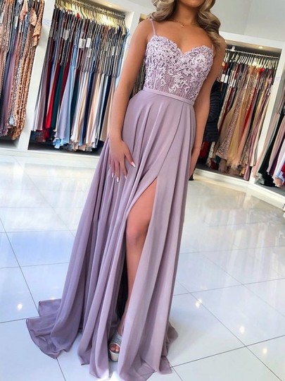Maxi dress prom dress bridemaid con scollo tondo senza spalline in pizzo con scollo all'americana viola