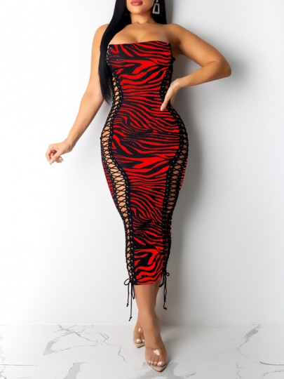 Red Zebra Pattern Lace-up Off Shoulder Bodycon Party Clubwear Maxi Dress
