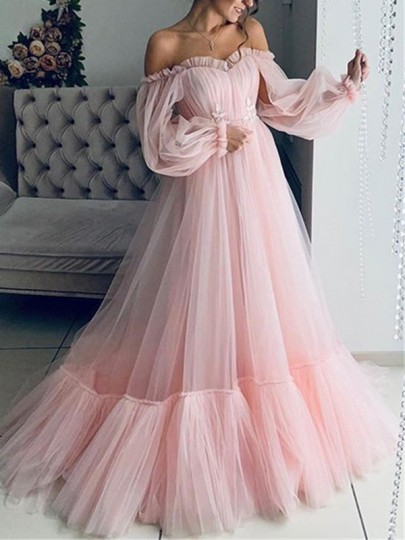 Pink Lace Off Shoulder Fluffy Tulle Grenadine Long Sleeve Prom Party Maxi Dress
