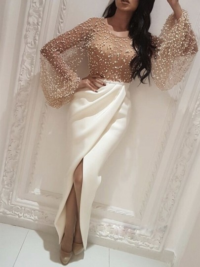 White Patchwork Lace Pearl Slit Grenadine Long Sleeve Bodycon Party Prom Maxi Dress