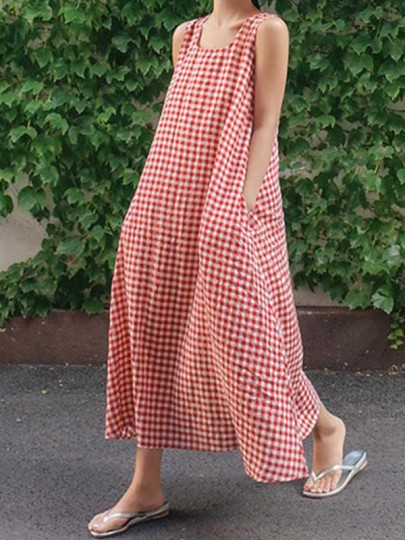 Red Gingham Plaid Pockets Square Neck Sleeveless Casual Maxi Dress