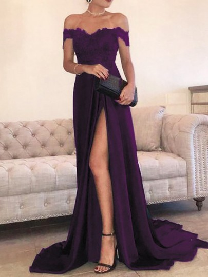 Purple Patchwork Lace Off Shoulder Pleated Thigh High Side Slits Prom Evening Party Maxi Dress