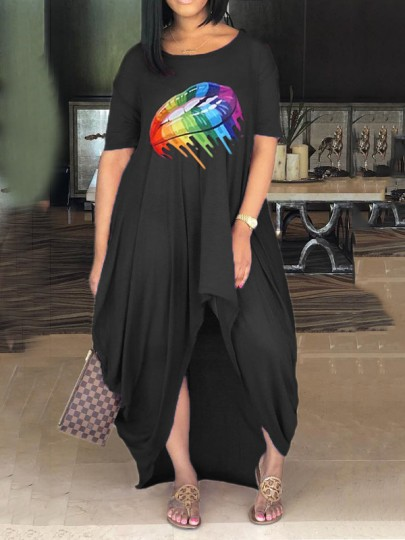 Red Rainbow Striped Lips Rasta Pride Jamaica Pleated High-Low Bohemian Beach Maxi Dress